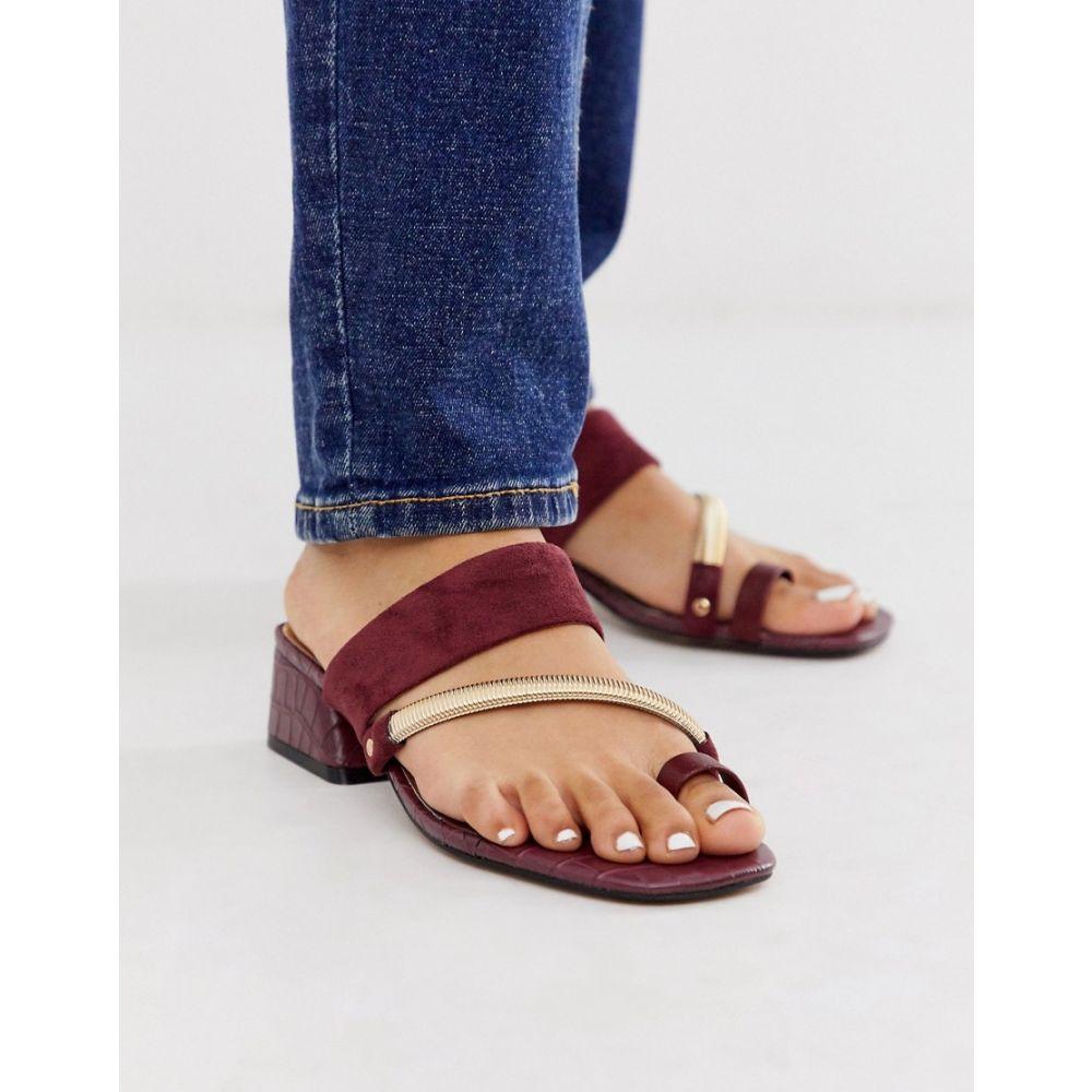 リバーアイランド River Island レディース シューズ・靴 サンダル・ミュール【low heel toe loop mule in red】Red dark