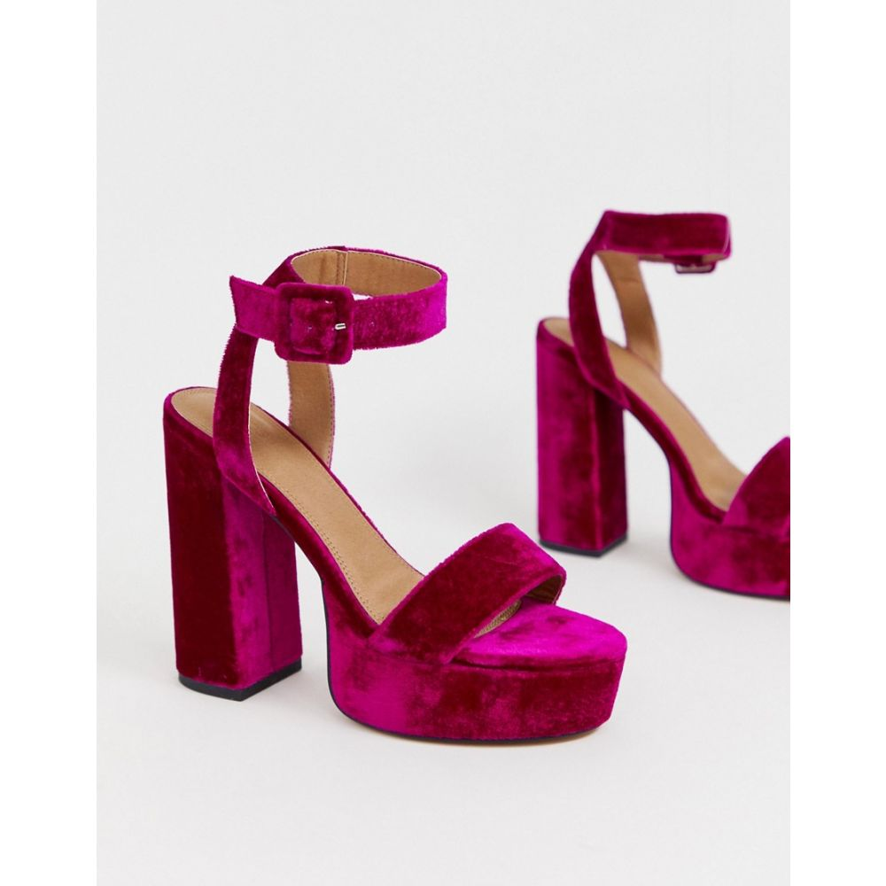 エイソス ASOS DESIGN レディース シューズ・靴 サンダル・ミュール【Hostess platform heeled sandals in magenta】Magenta velvet