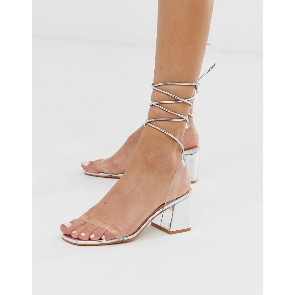 パブリックディザイア Public Desire レディース シューズ・靴 サンダル・ミュール【Tomorrow silver metallic ankle tie mid heeled sandals】Silver metallic