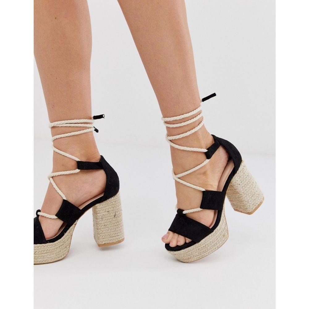 ロストインク Lost Ink レディース シューズ・靴 エスパドリーユ【lace up espadrille platform heeled sandal in black】Black