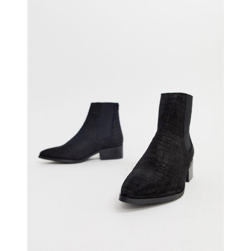 ヴェロモーダ Vero Moda レディース シューズ・靴 ブーツ【snake embossed real suede boots】Black