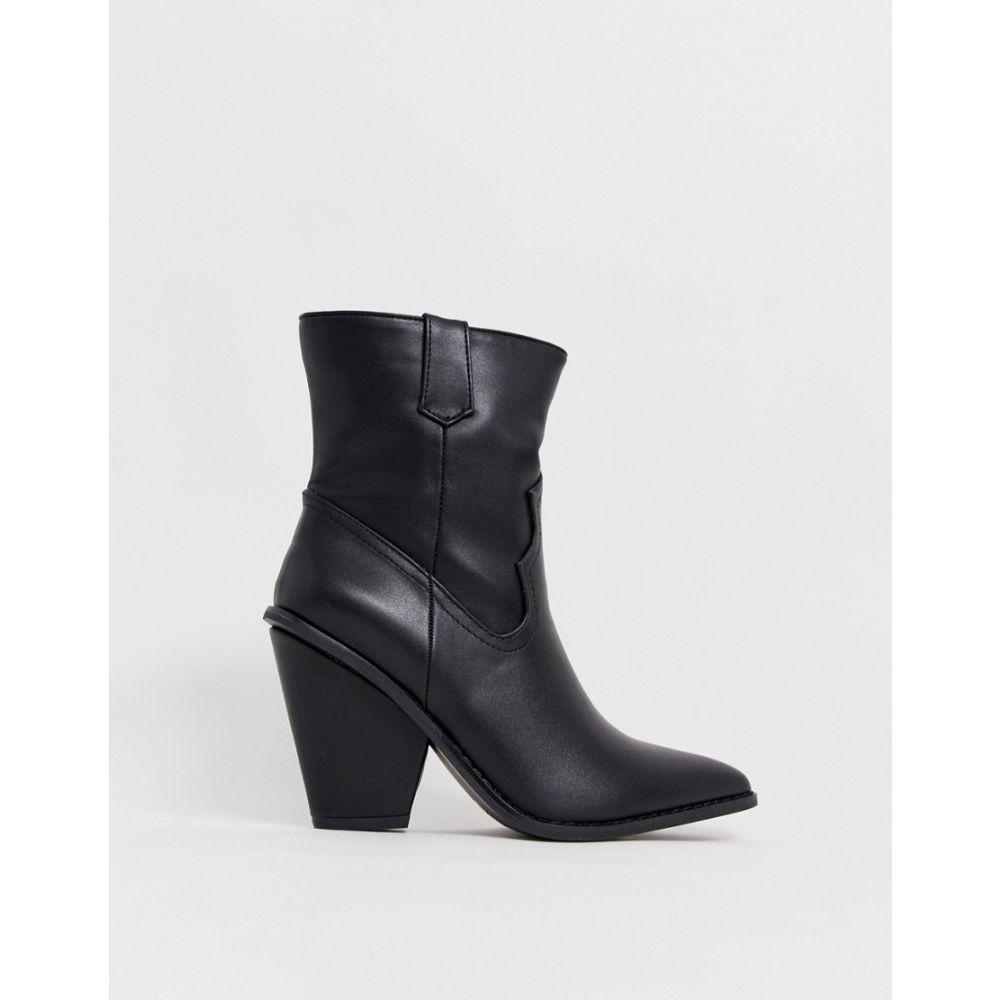 グラマラス Glamorous レディース シューズ・靴 ブーツ【black western heeled ankle boots】Black