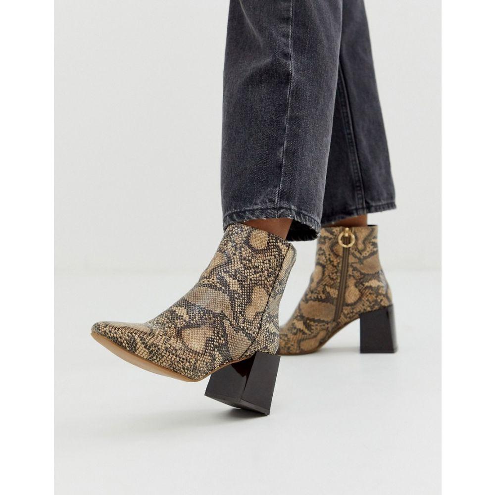 エイソス ASOS DESIGN レディース シューズ・靴 ブーツ【Reed heeled ankle boots in natural snake】Natural snake