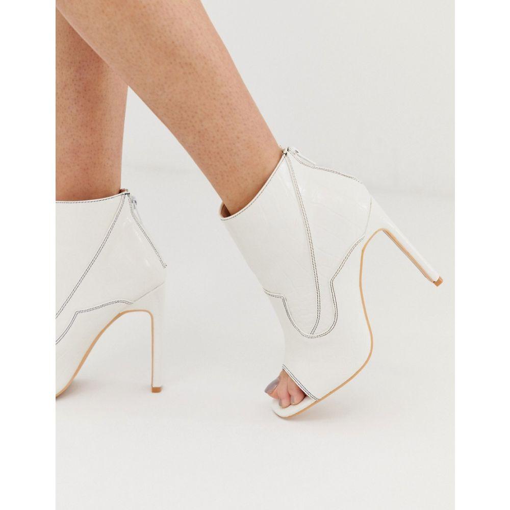 ロストインク Lost Ink レディース シューズ・靴 ブーツ【contrast stitch peep toe stiletto boot】White