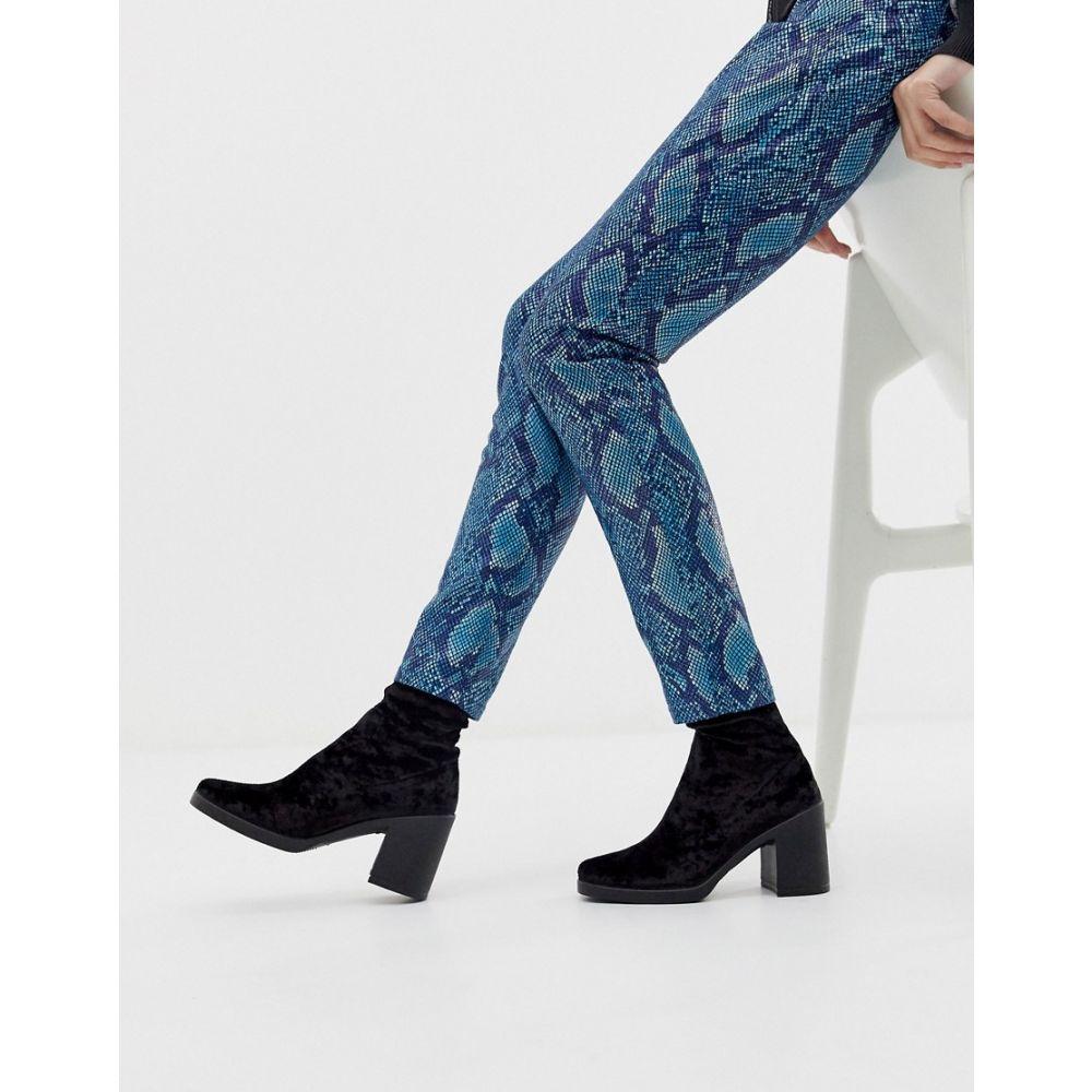 エイソス ASOS DESIGN レディース シューズ・靴 ブーツ【Responsive chunky velvet sock boots】Black velvet