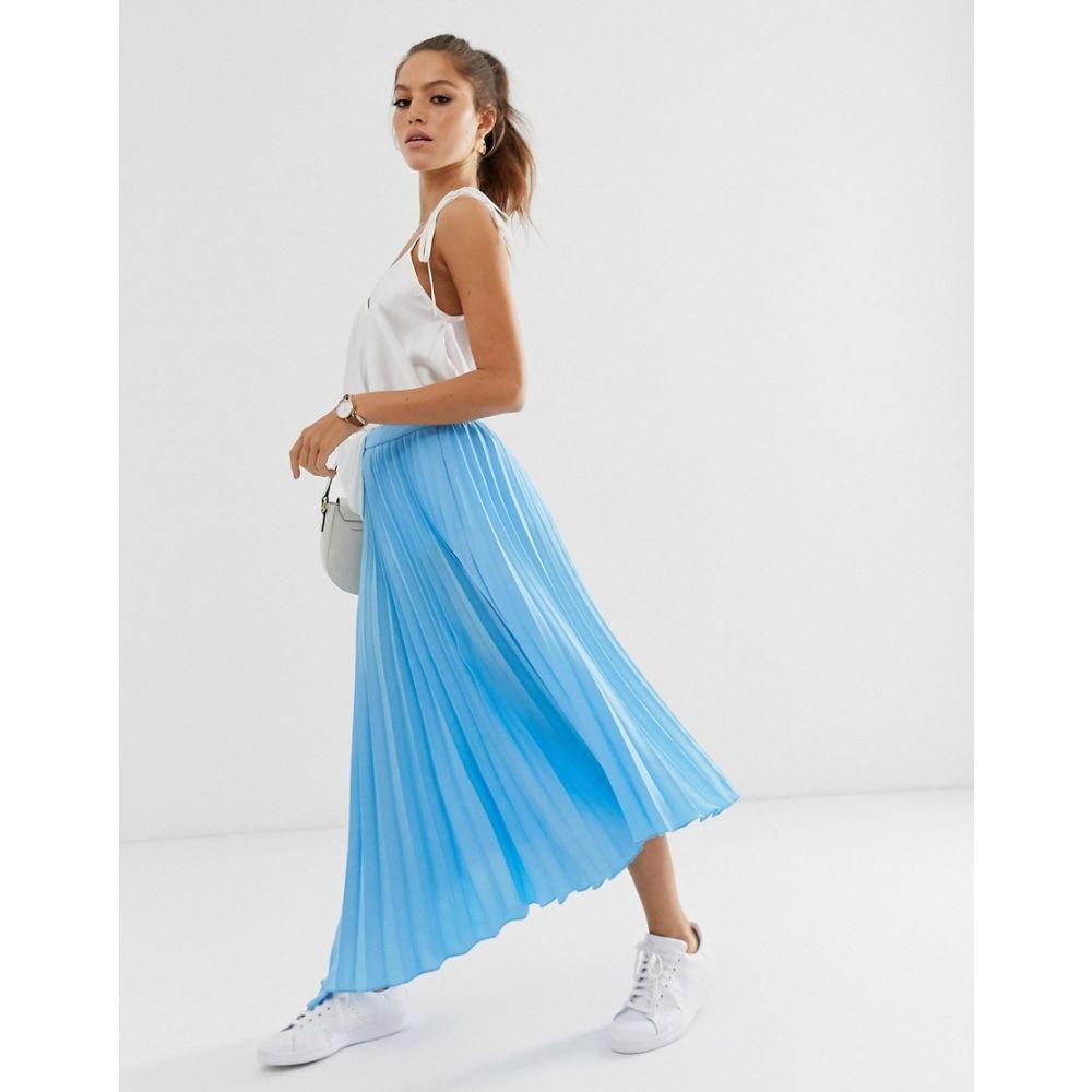 エイソス ASOS DESIGN レディース スカート ひざ丈スカート【asymmetric pleated midi skirt with godet】Blue