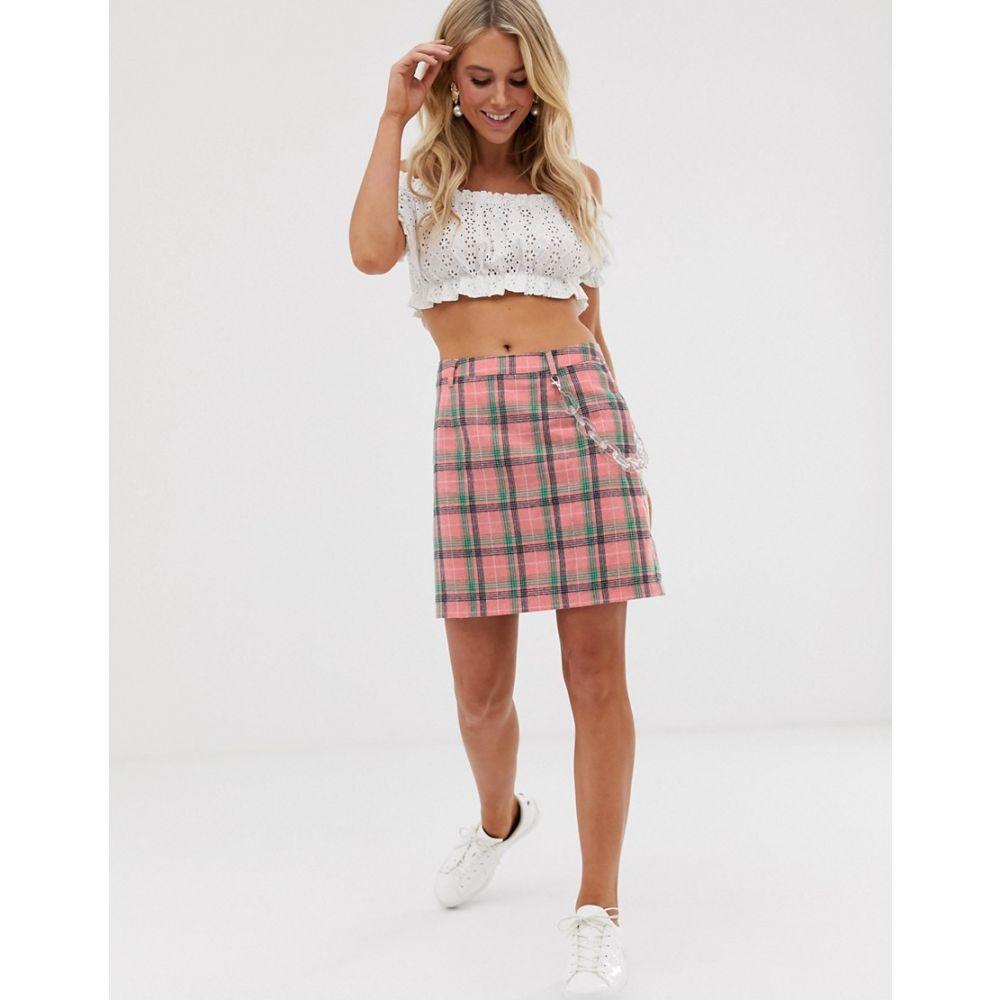 デイジーストリート Daisy Street レディース スカート ミニスカート【mini skirt with clear chain in check】Pink check