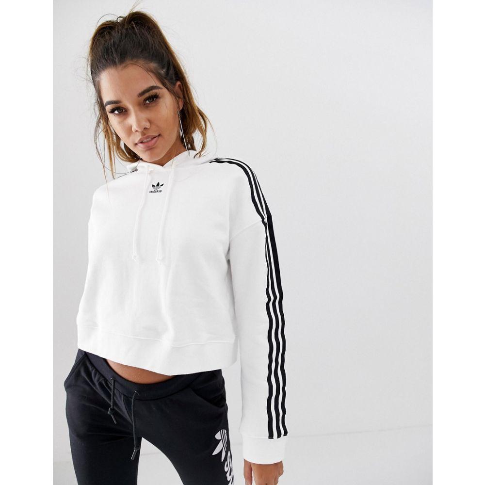 アディダス adidas Originals レディース トップス パーカー【adicolor cropped hoodie in white】White