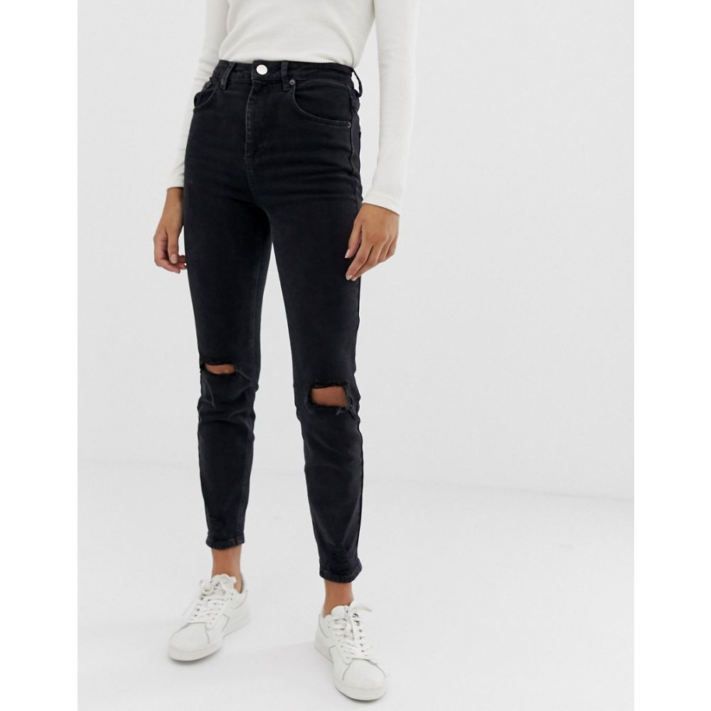 エイソス ASOS DESIGN レディース ボトムス・パンツ ジーンズ・デニム【Farleigh high waisted slim mom jeans in washed black with busted knees】Washed black