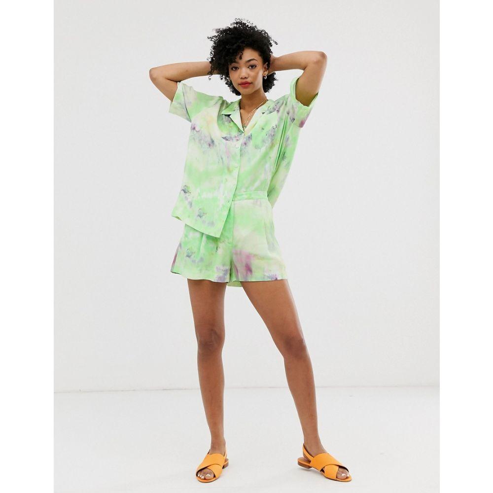 アンドアザーストーリーズ & Other Stories レディース ボトムス・パンツ ショートパンツ【tie dye high waisted shorts in green】Green ice dye print