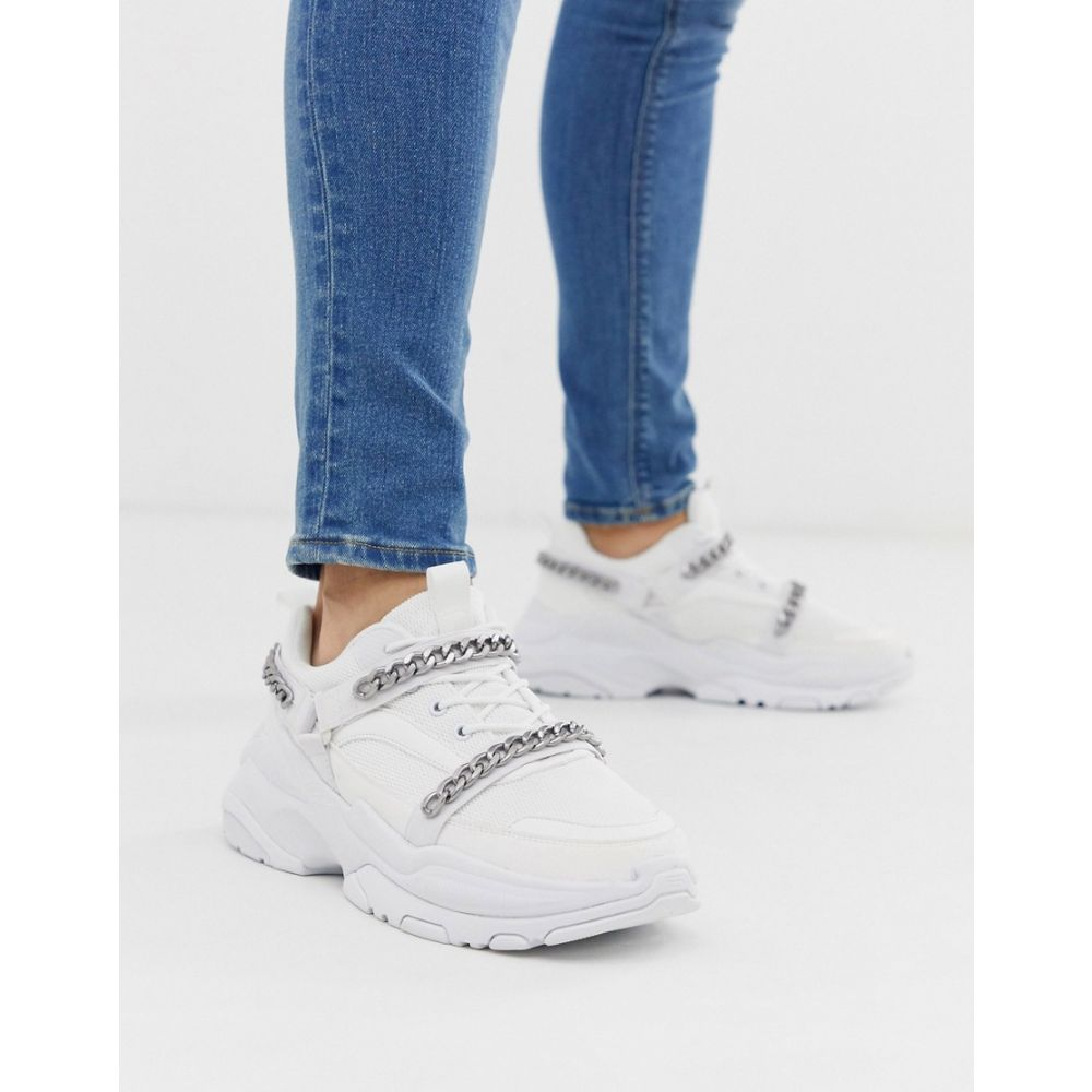 エイソス ASOS DESIGN メンズ シューズ・靴 スニーカー【trainers in white with gunmetal chains】White