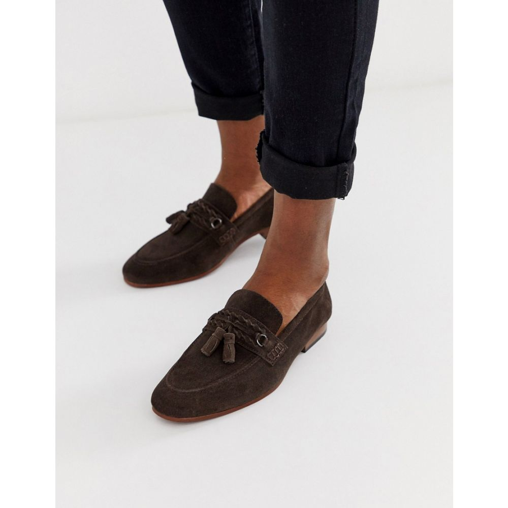 エイソス ASOS DESIGN メンズ シューズ・靴 ローファー【tassel loafers in brown suede with natural sole】Brown