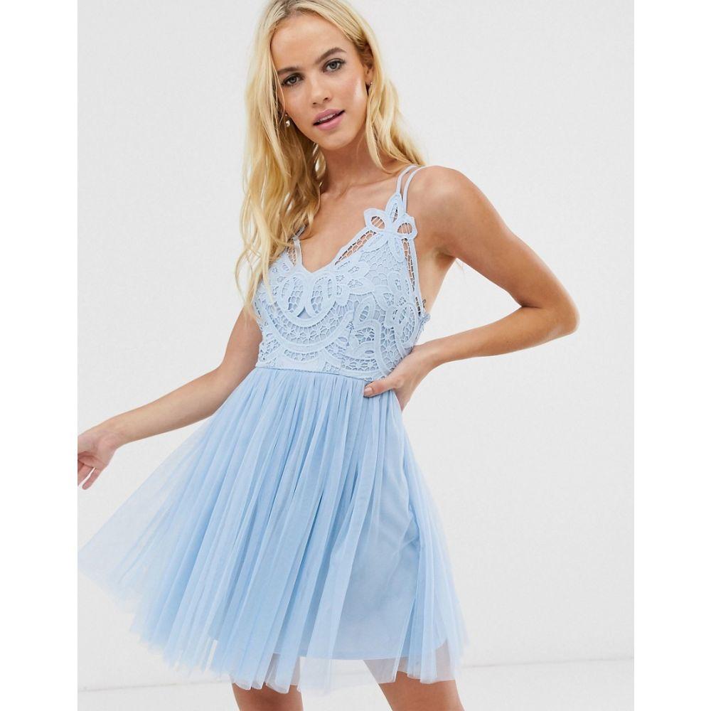 エイソス ASOS DESIGN レディース ワンピース・ドレス ワンピース【Premium lace top tulle cami mini dress】Blue