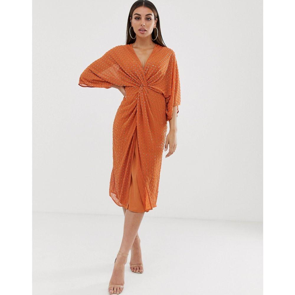 エイソス ASOS DESIGN レディース ワンピース・ドレス ワンピース【midi kimono dress with starburst beading】Burnt orange