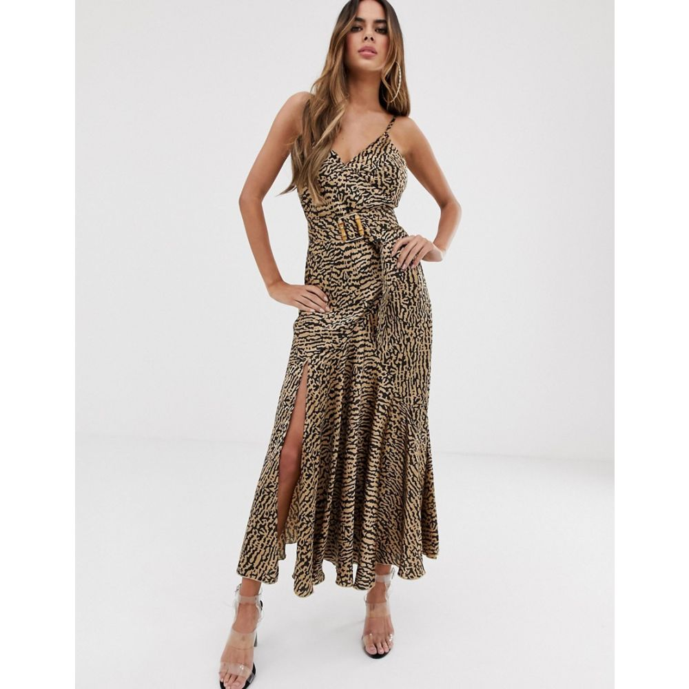 エイソス ASOS DESIGN レディース ワンピース・ドレス ワンピース【bias cut maxi slip dress in leopard print with bamboo belt】Leopard print