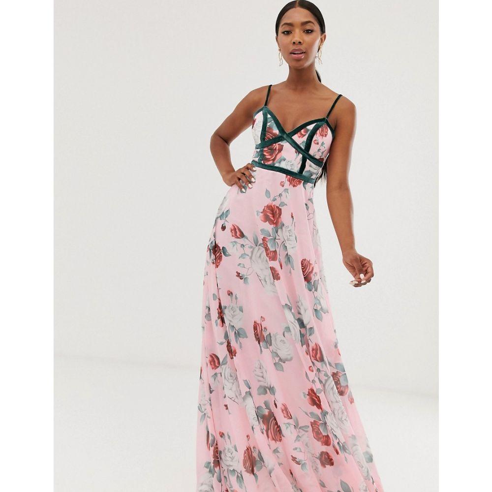 フォーエバー ユー Forever U レディース ワンピース・ドレス ワンピース【corset detail cami maxi dress in floral print】Pink