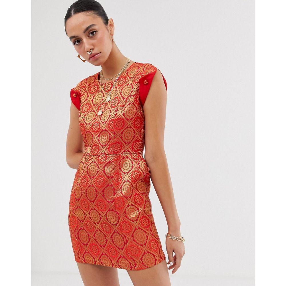 ネサヴァリ Nesavaali レディース ワンピース・ドレス ワンピース【capped sleeve jacquard mini dress】Red