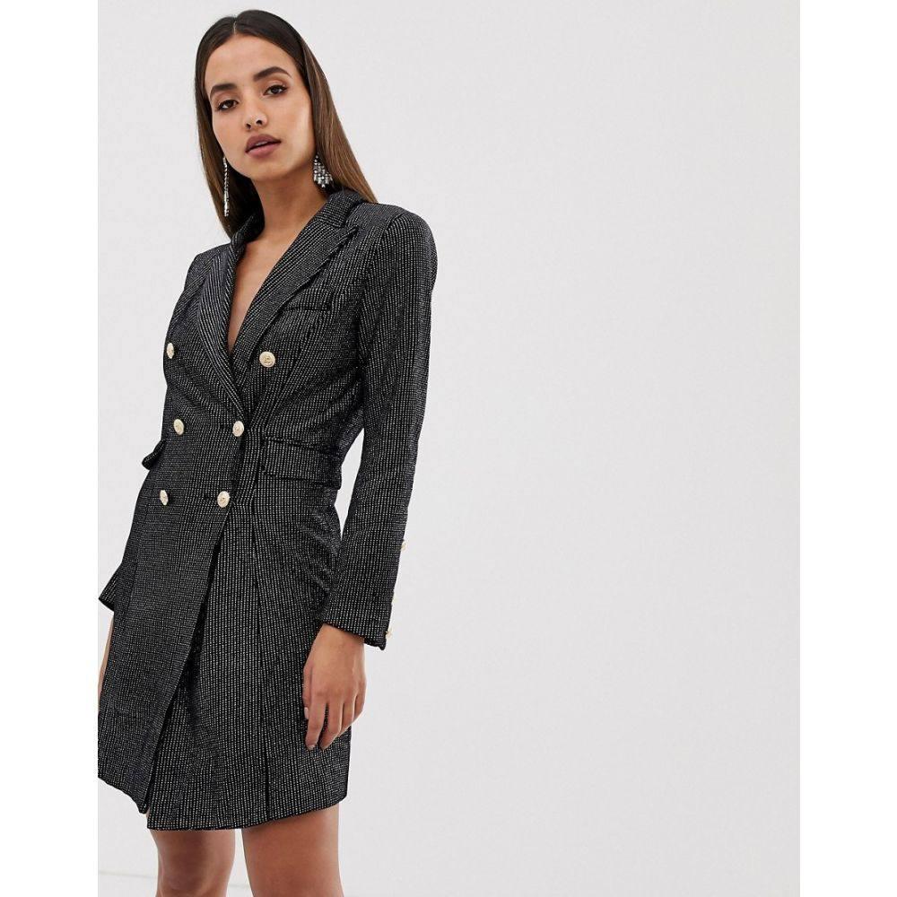 フォーエバーユニーク Forever Unique レディース ワンピース・ドレス ワンピース【metallic blazer dress】Black / silver