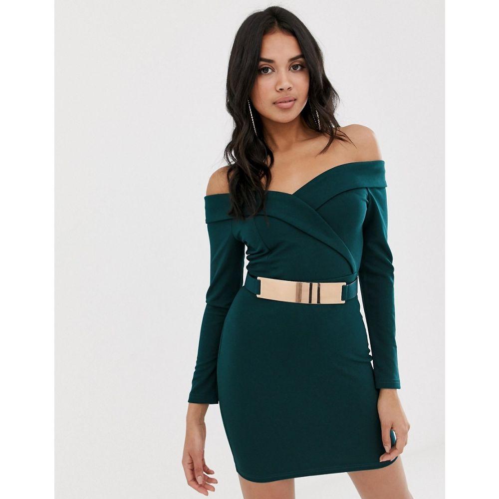 ガール イン マインド Girl In Mind レディース ワンピース・ドレス ワンピース【off the shoulder mini dress with belt】Green