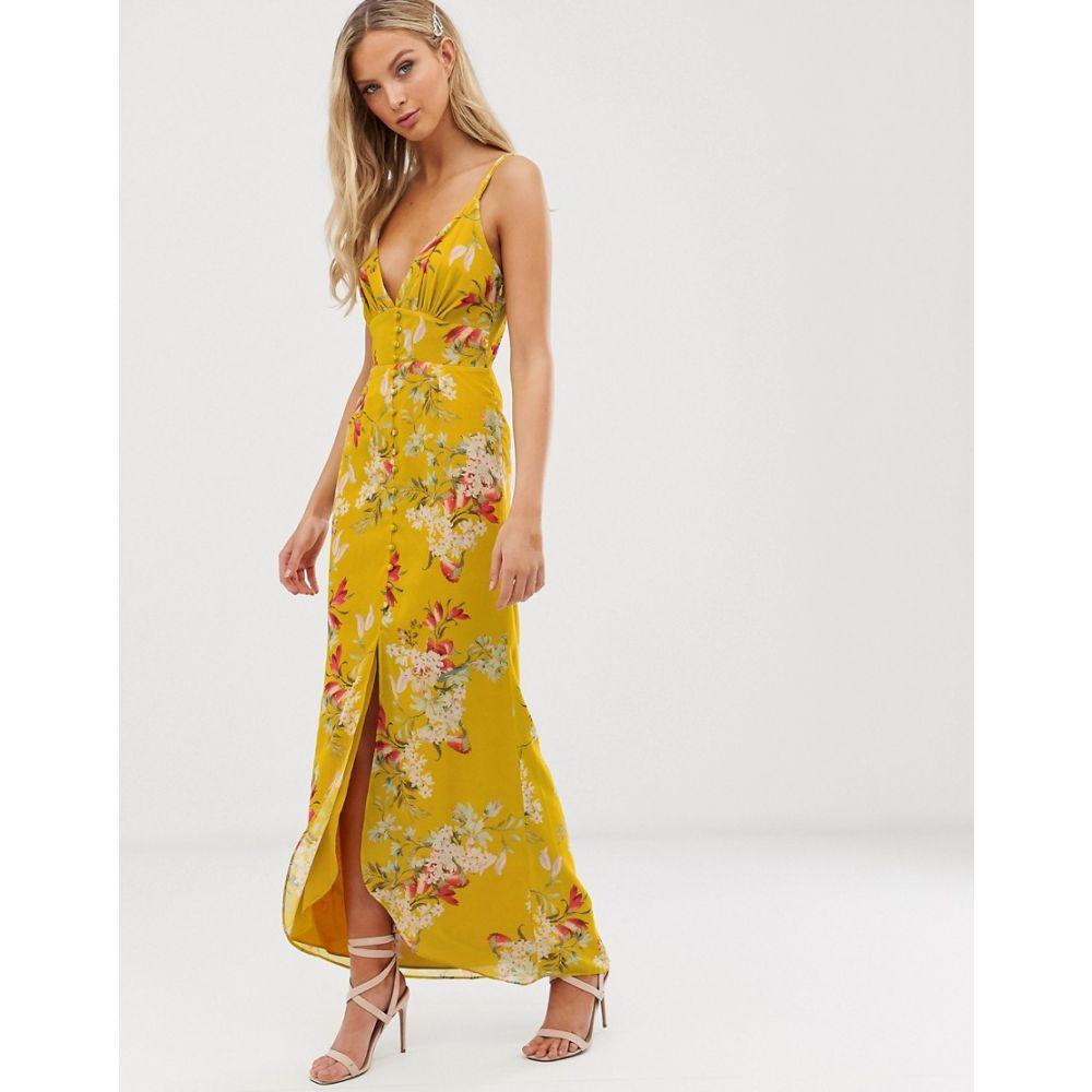ホープ&アイビー Hope & Ivy レディース ワンピース・ドレス ワンピース【floral button front cami strap midi dress】Yellow floral