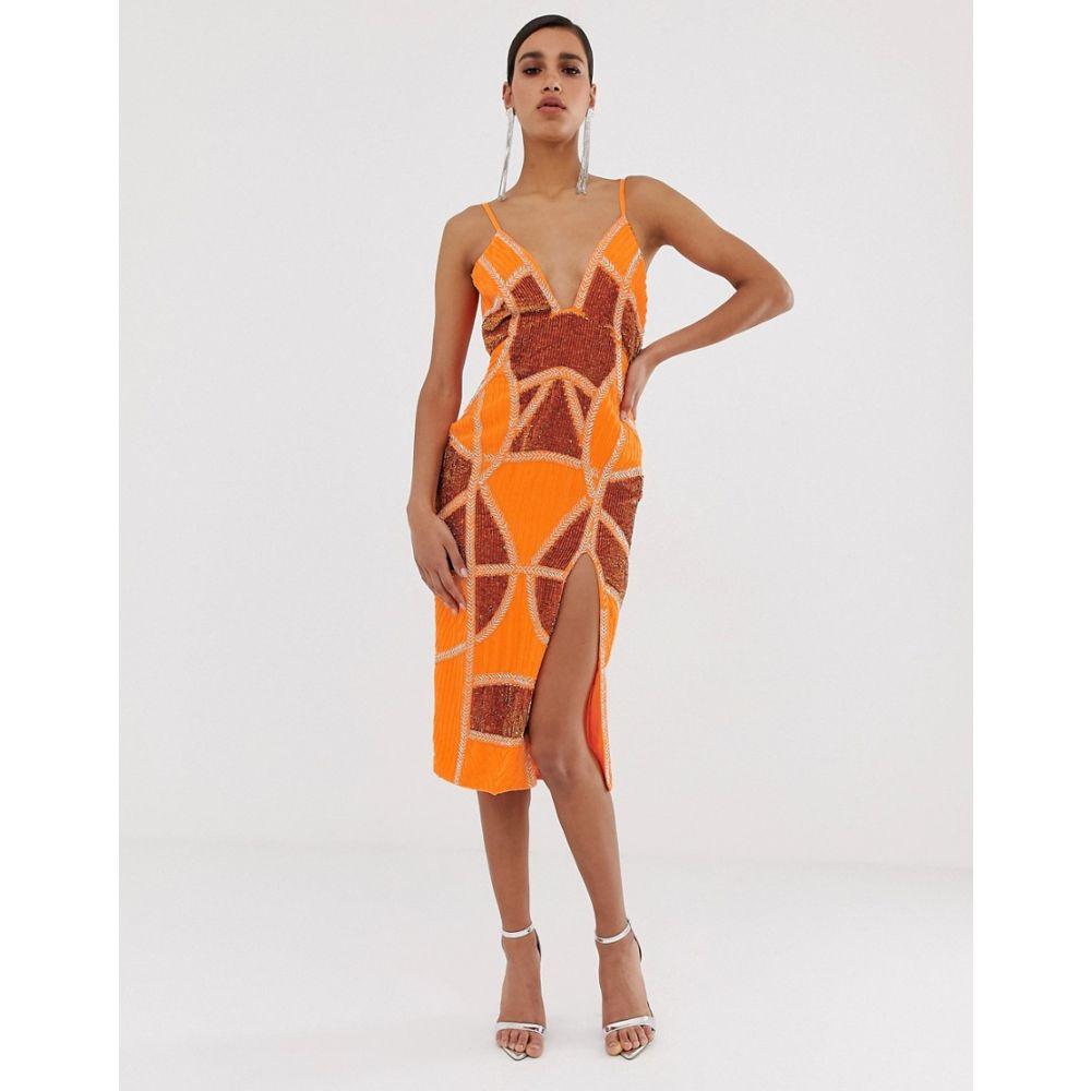 エイソス ASOS DESIGN レディース ワンピース・ドレス ワンピース【sexy pencil midi dress with embellished panels】Bright orange