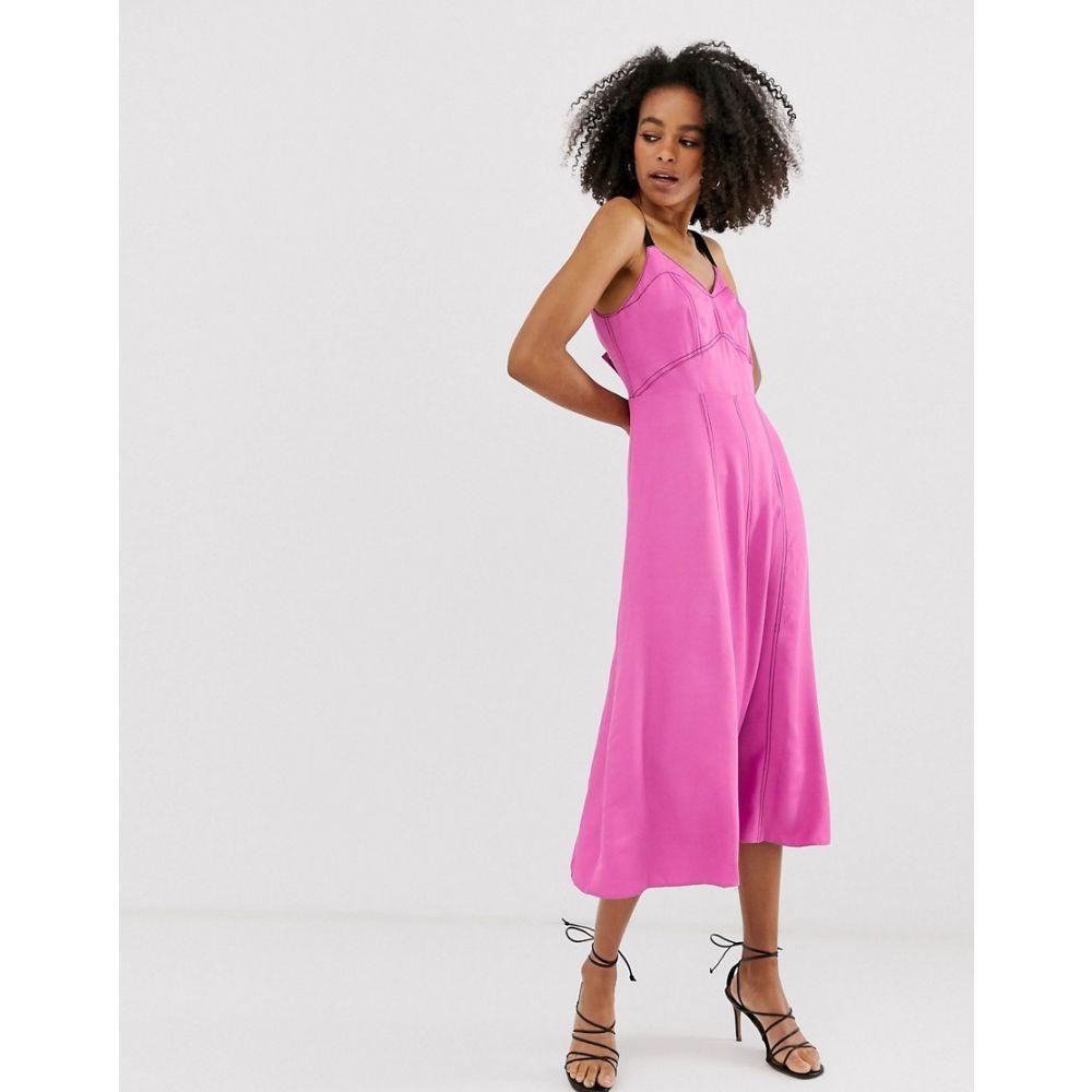 エイソス ASOS WHITE レディース ワンピース・ドレス ワンピース【plain contrast strap slip dress】Pink