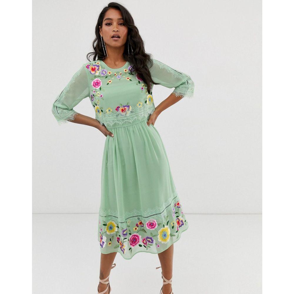 エイソス ASOS DESIGN レディース ワンピース・ドレス ワンピース【double layer embroidered midi dress】Sage green