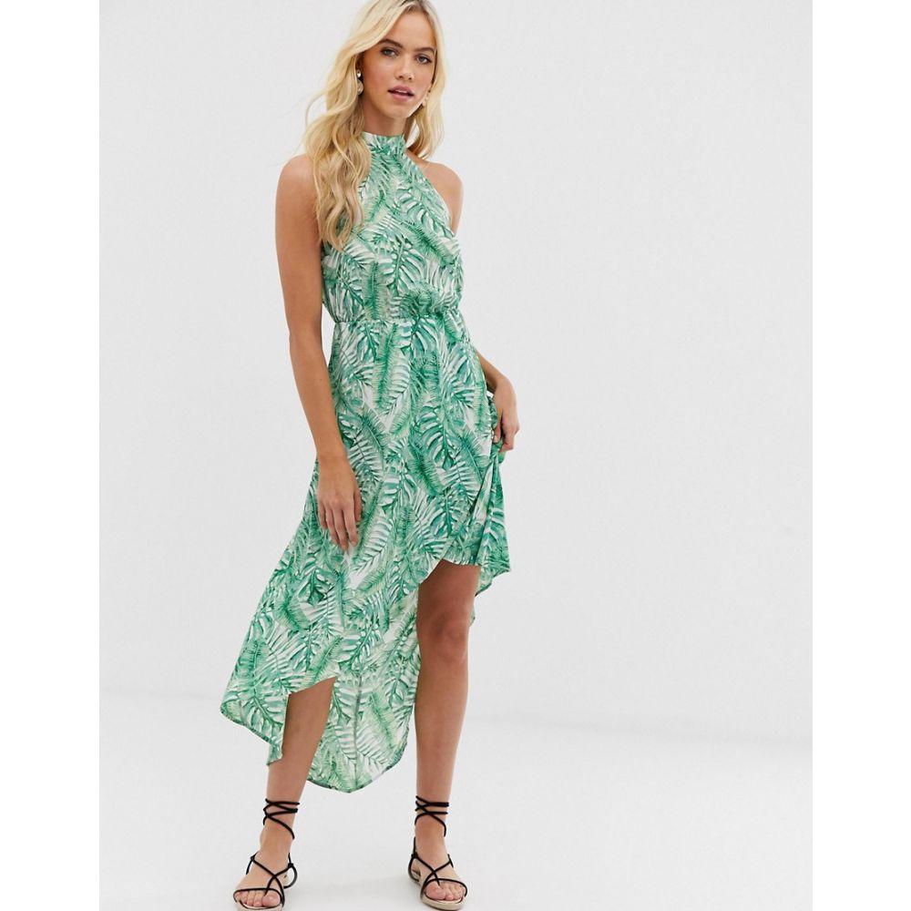 アックスパリス AX Paris レディース ワンピース・ドレス ワンピース【tropical print racerneck midi dress】Green