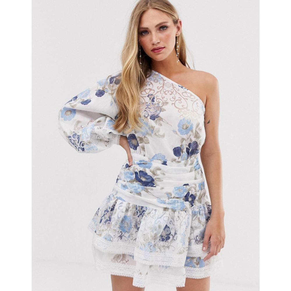 ブロンクス アンド バンコ Bronx and Banco レディース ワンピース・ドレス ワンピース【Bronx & Banco Lora Sky one sleeve floral mini dress】White sky