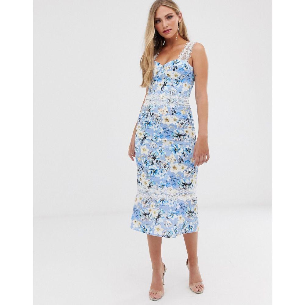 ブロンクス アンド バンコ Bronx and Banco レディース ワンピース・ドレス ワンピース【Bronx & Banco Yana floral pencil midi dress】Blue white