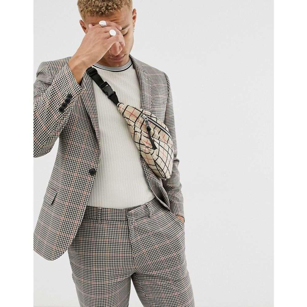 エイソス ASOS DESIGN メンズ アウター スーツ・ジャケット【skinny suit jacket in brown gingham check】Brown