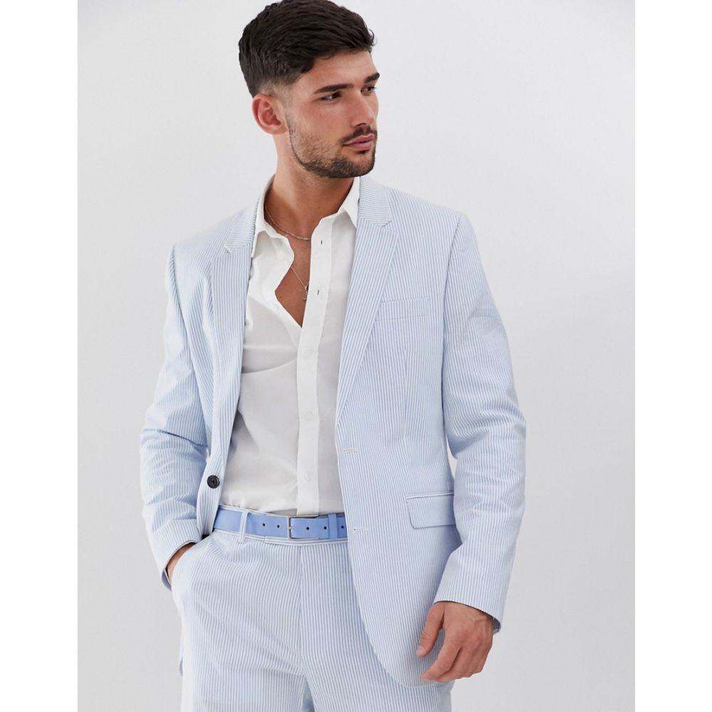 エイソス ASOS DESIGN メンズ アウター スーツ・ジャケット【slim suit jacket in cotton seersucker with blue and white stripe】Blue