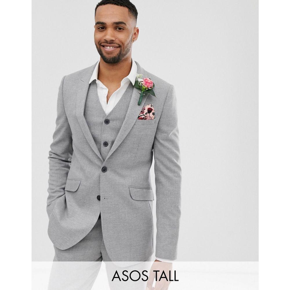 エイソス ASOS DESIGN メンズ アウター スーツ・ジャケット【Tall wedding skinny suit jacket in grey twist micro texture】Grey