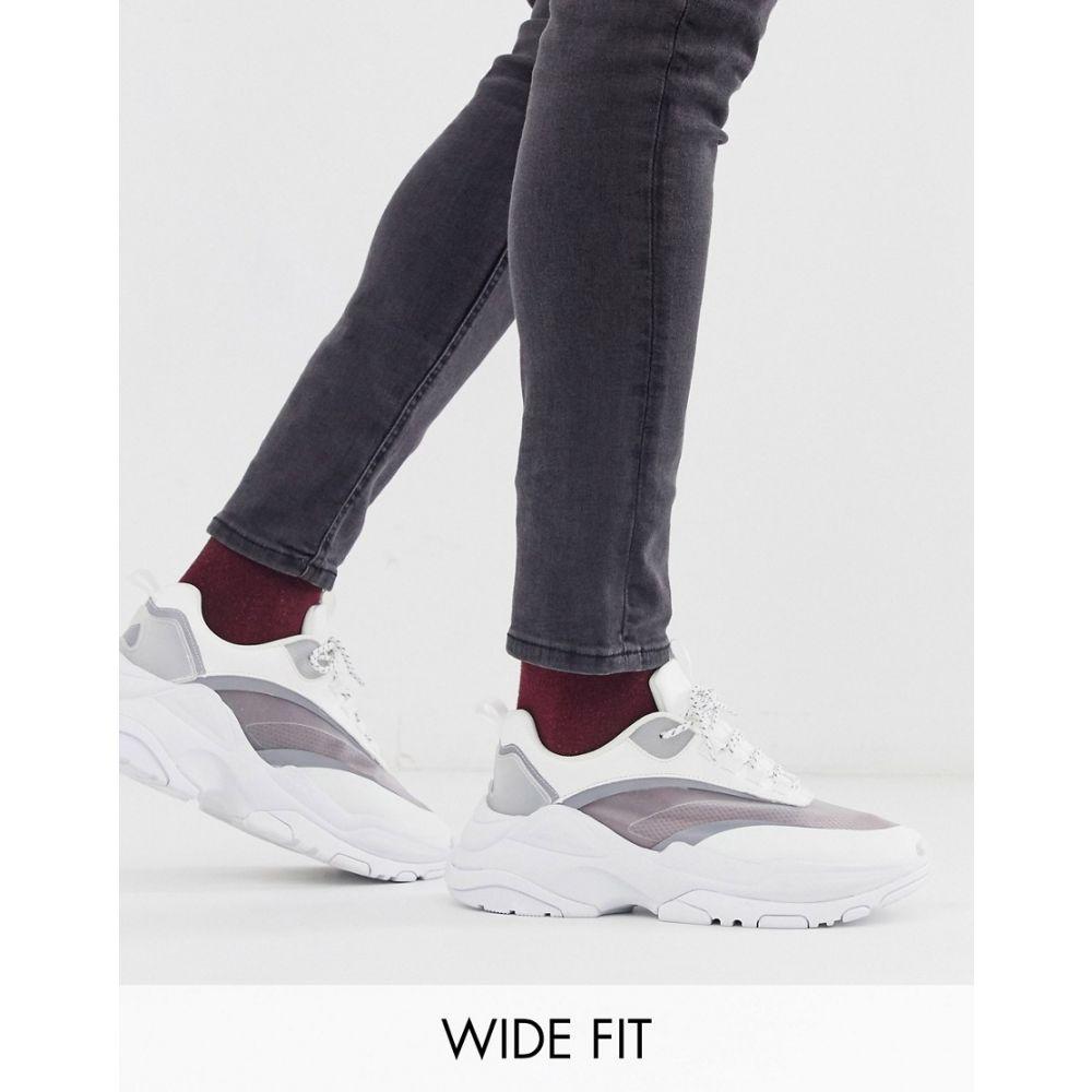 エイソス ASOS DESIGN メンズ シューズ・靴 スニーカー【Wide Fit trainers in white with chunky sole】White