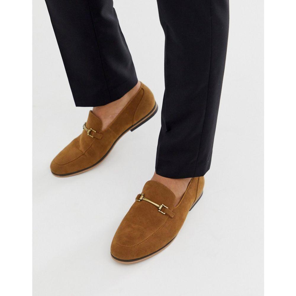 エイソス ASOS DESIGN メンズ シューズ・靴 ローファー【loafers in tan faux suede with snaffle】Tan