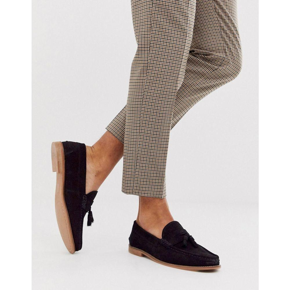 エイソス ASOS DESIGN メンズ シューズ・靴 ローファー【tassel loafers in black suede with natural sole】Black