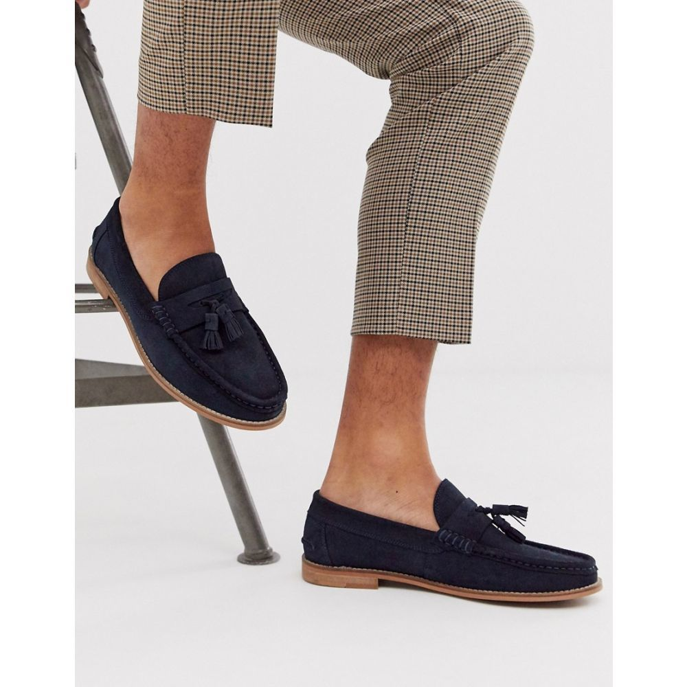 エイソス ASOS DESIGN メンズ シューズ・靴 ローファー【tassel loafers in navy suede with natural sole】Navy
