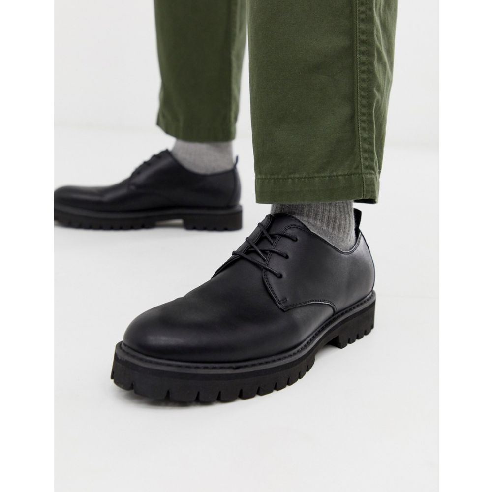 エイソス ASOS DESIGN メンズ シューズ・靴 革靴・ビジネスシューズ【derby lace up shoes in black faux leather with black sole】Black
