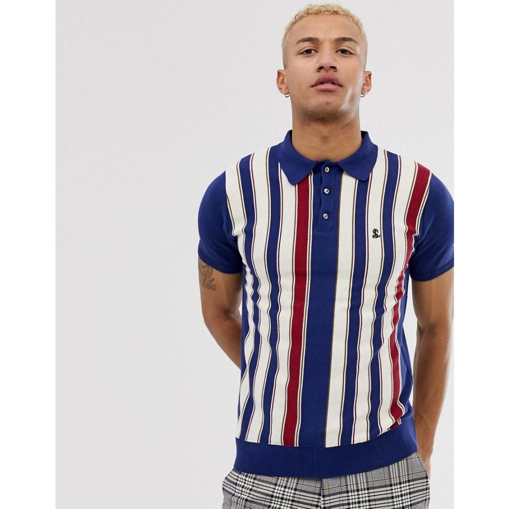 ロックストック Lockstock メンズ トップス ポロシャツ【knitted polo in bold stripe】Navy