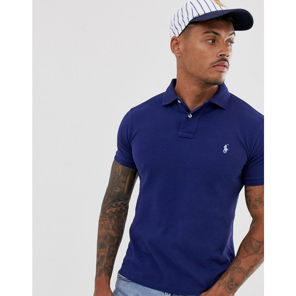 ラルフ ローレン Polo Ralph Lauren メンズ トップス ポロシャツ【washed pique polo slim fit player logo in mid blue】Fresh water