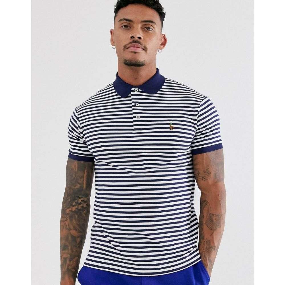 ラルフ ローレン Polo Ralph Lauren メンズ トップス ポロシャツ【stripe pima jersey polo slim fit multi player logo in navy/white】French navy/white