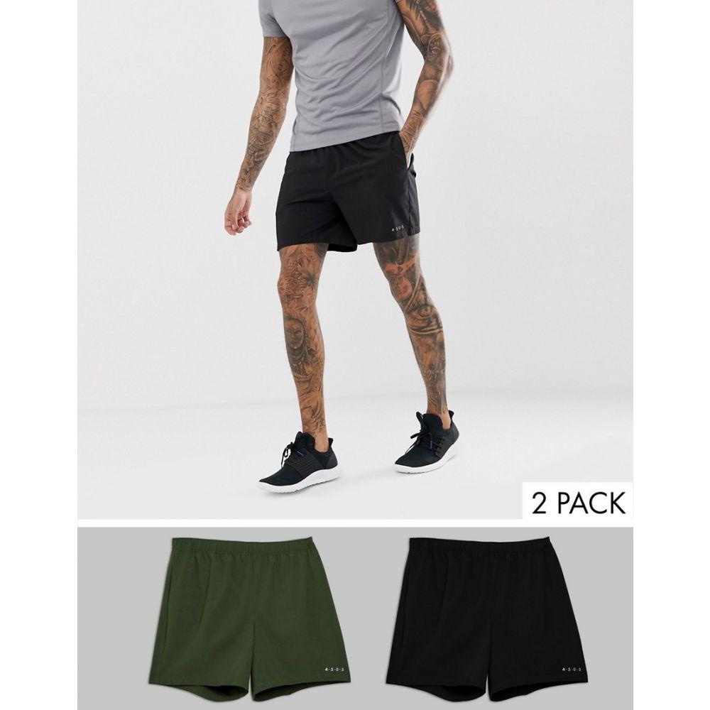 エイソス ASOS 4505 メンズ フィットネス・トレーニング ボトムス・パンツ【training shorts in mid length 2 pack】Black/khaki