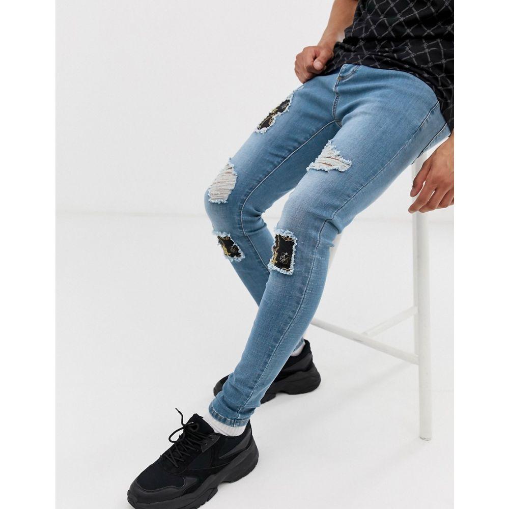 シックシルク SikSilk メンズ ボトムス・パンツ ジーンズ・デニム【super skinny jeans with baroque rips in light wash】Blue