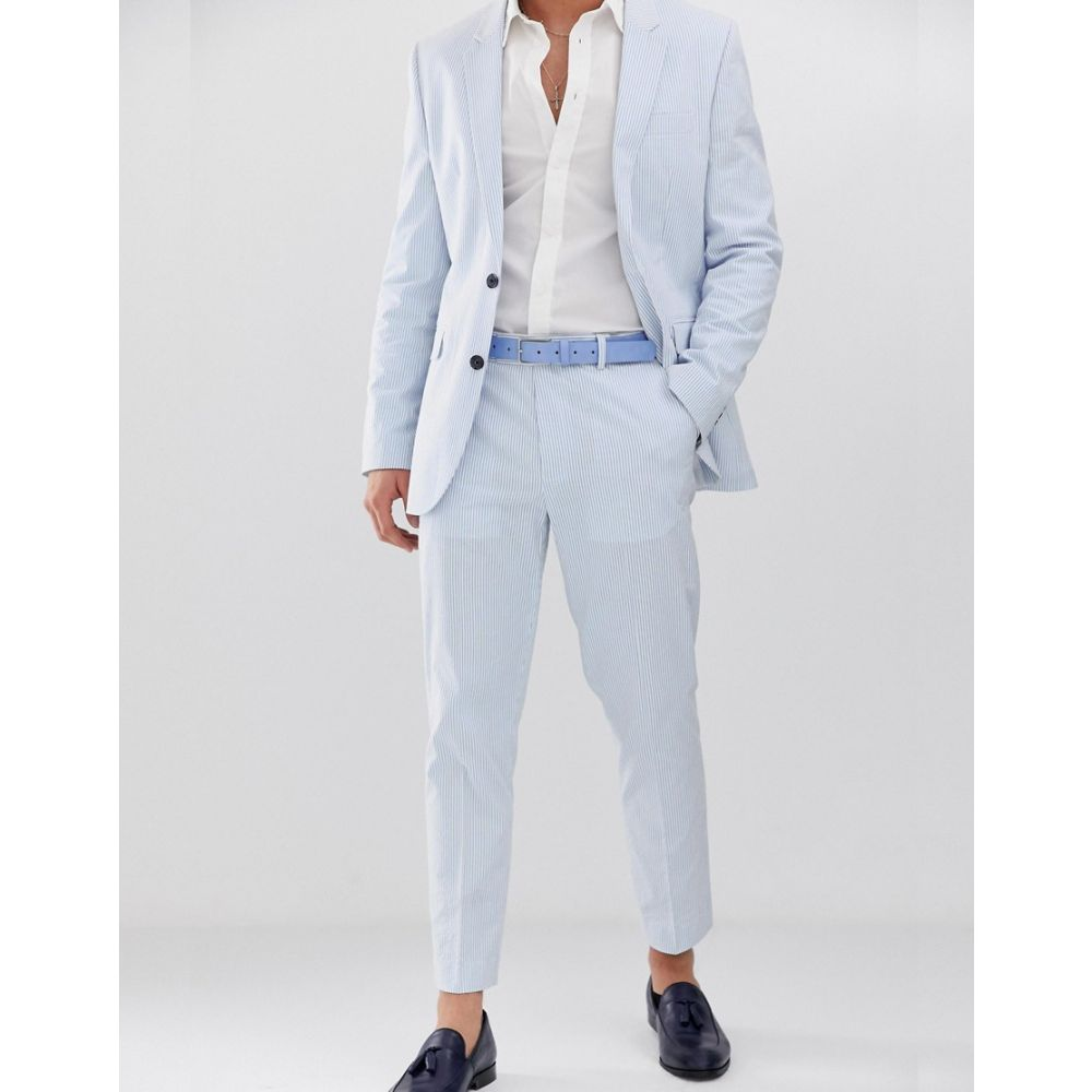 エイソス ASOS DESIGN メンズ ボトムス・パンツ スラックス slim crop suit trousers in cotton seersucker with blue and white stripe BlueorQdCxWBe