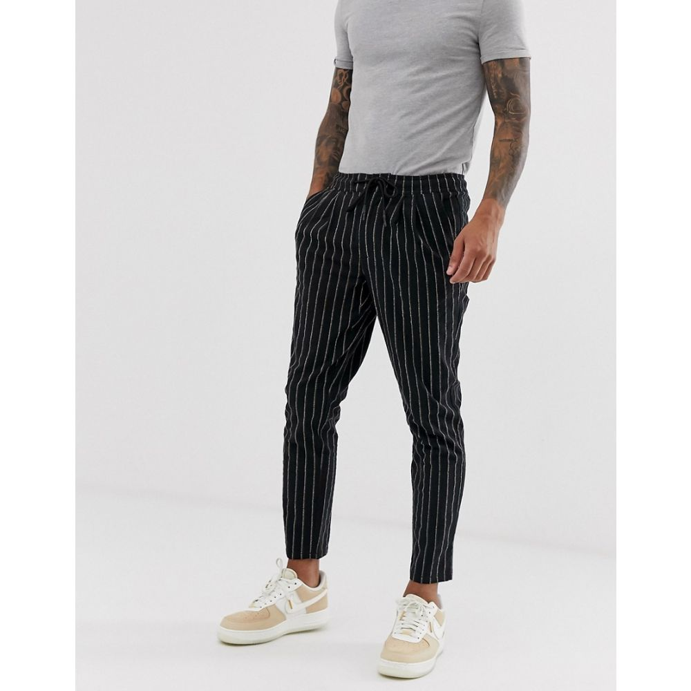 エイソス ASOS DESIGN メンズ ボトムス・パンツ【cigarette trousers in textured stripe】Black