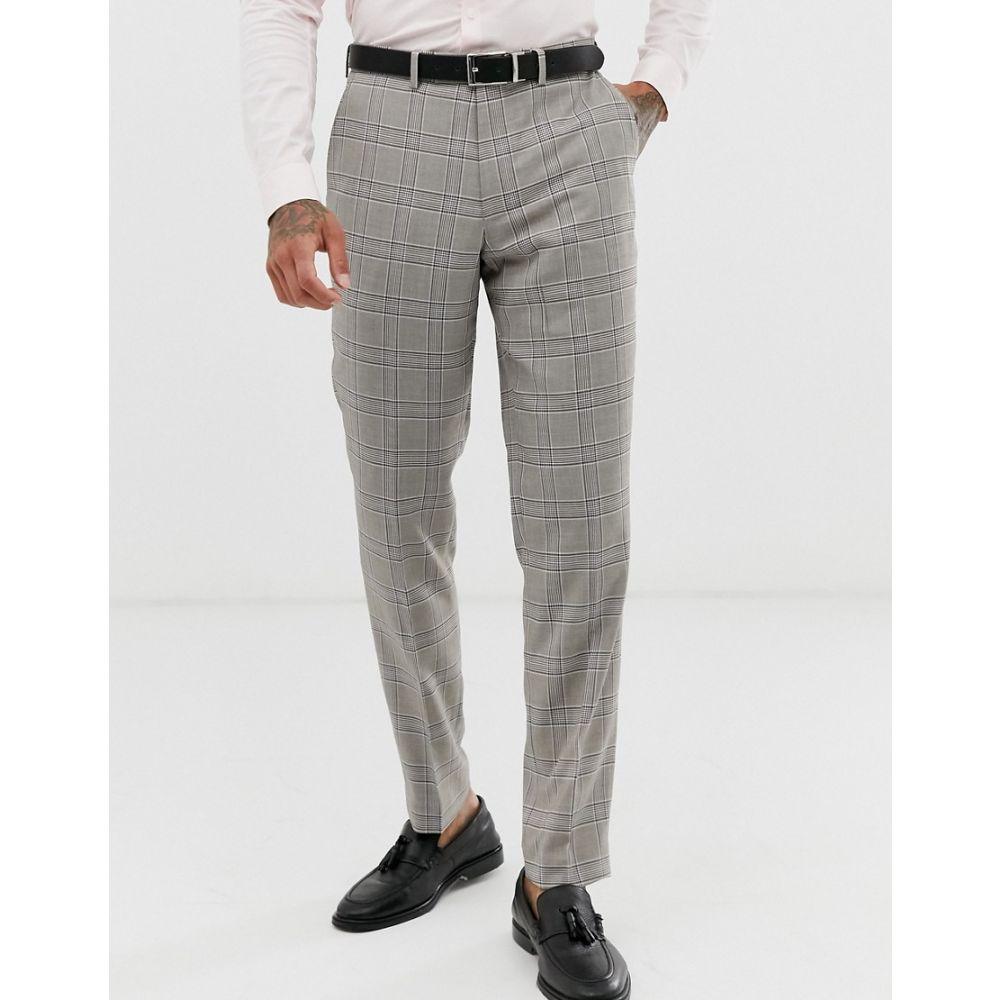 ハリー ブラウン Harry Brown メンズ ボトムス・パンツ スキニー・スリム【slim fit light grey check suit trouser】Grey