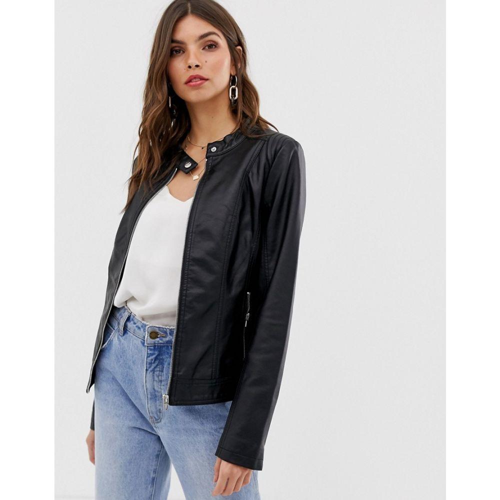 ヴィラ Vila レディース アウター レザージャケット【Faux Leather Collarless Jacket】Black