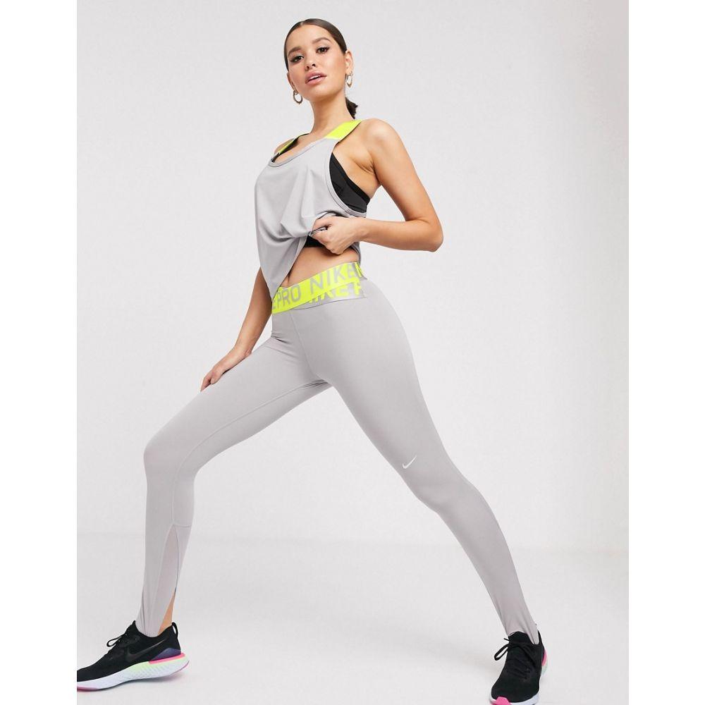 ナイキ Nike Training レディース インナー・下着 スパッツ・レギンス【Nike Pro Training crossover leggings in grey with lime waistband】Grey/lime