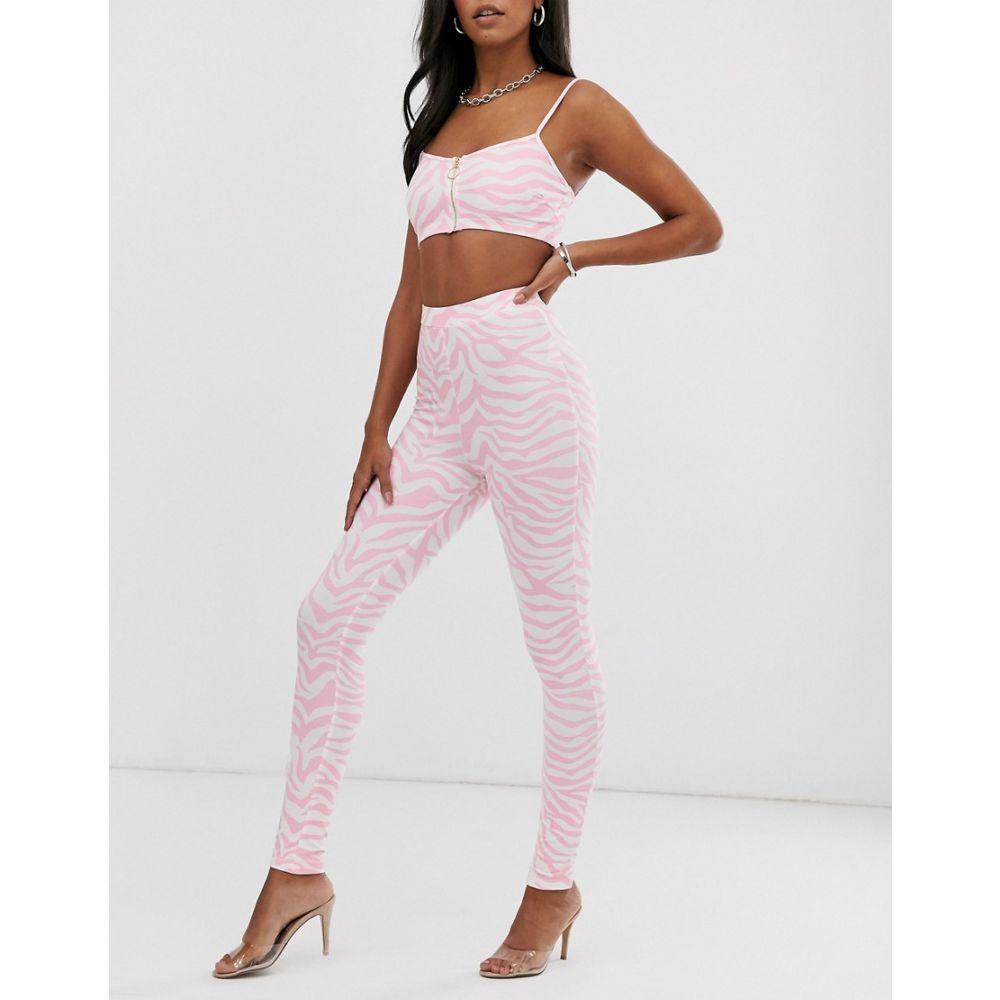 エルシー&フレッド Elsie & Fred レディース インナー・下着 スパッツ・レギンス【high waisted leggings in pink zebra print co-ord】White