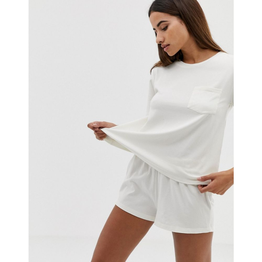 エイソス ASOS DESIGN レディース インナー・下着 パジャマ・上下セット【organic cotton pocket tee and short pyjama set】White